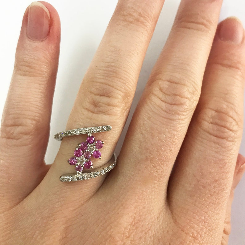0.65 ct tw Natural Pink Sapphire & Diamond Solid Gold Modern image 0