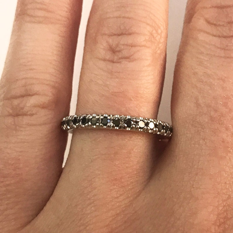 0.4 ctw Natural Black Diamond Full Eternity Wedding Band Ring image 0