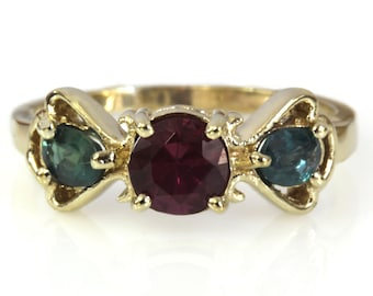 1.3 ctw Natural Color Change Alexandrite & Pink Tourmaline Ring / Solid 14k 18k Gold / Cute 3 Stone Bow Ring 7 MM / June October Birthstone