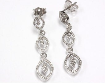 0.46 ct tw Natural Diamond (G-H, SI2) Gold Long Journey Dangle Earrings