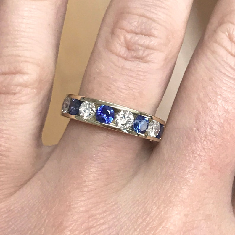 2.1 ct tw Natural Blue Sapphire & Diamond Solid Gold Channel image 0
