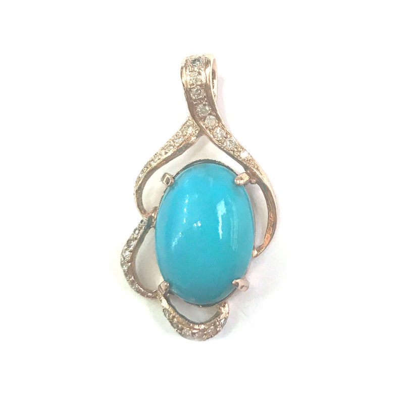 5.25 ct tw Natural Blue Turquoise & Diamond Solid Gold Pendant image 0