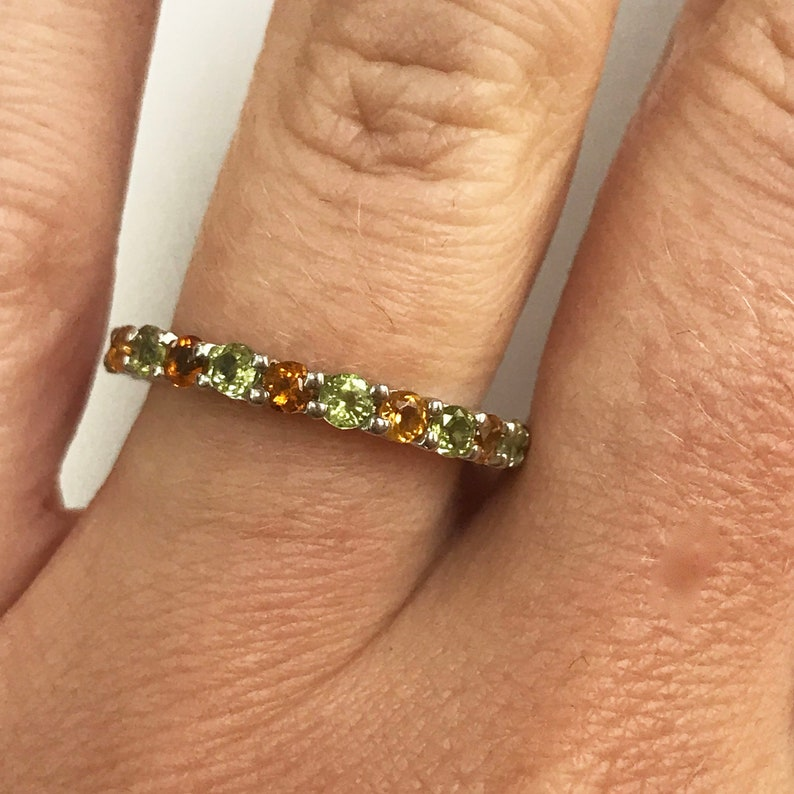 1.2 ct tw Natural Citrine & Peridot Solid Gold Full Eternity image 0