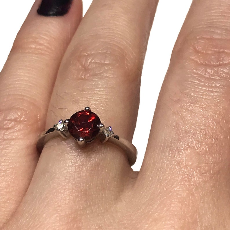 0.6 ct tw Natural Red Garnet & Diamond Solitaire Engagement image 0
