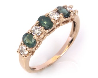 1 ctw Natural Color Change Alexandrite & Diamond Ring / 7 Stone Wedding Band / Solid 14k 18k Gold / Stackable Ring 4.5 MM / June Birthstone