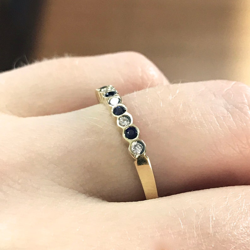 0.27 ct tw Natural Blue Sapphire & Diamond Solid Gold Wedding image 0