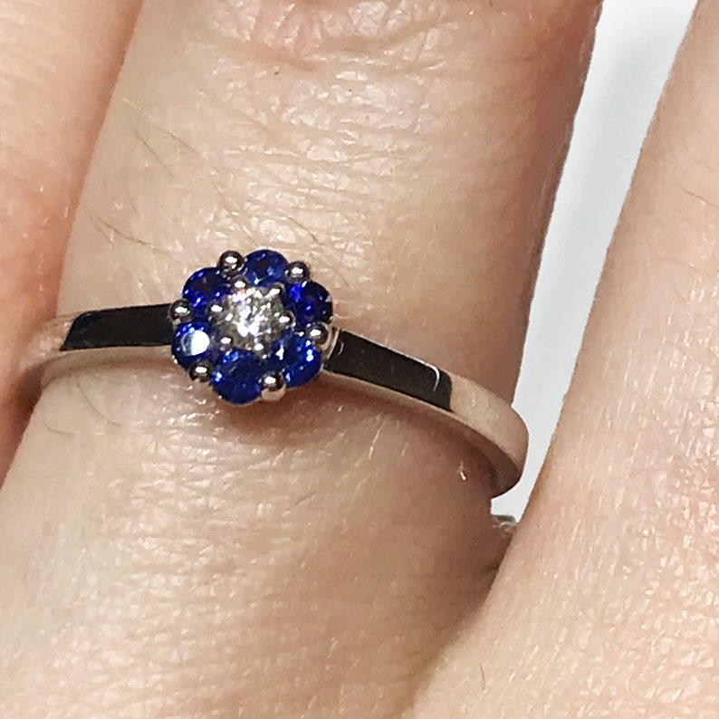 0.26 ct tw Natural Blue Sapphire & Diamond Solid Gold Flower image 0