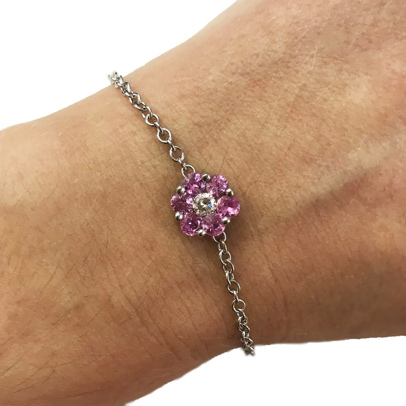 1.1 ct tw Natural Pink Sapphire & Diamond Solid Gold Flower image 0