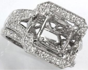 1.5 ct tw Natural Diamond Gold Semi Mount Filigree Wedding Ring Set   Solid Gold Square Diamond Engagement Ring   Bridal Set   Wedding Band