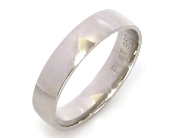 5 MM Flat Plain Ring / 950 Platinum Classic Plain Wedding Band / Heavy Sturdy Ring / Highly Polished Men's Band / Wide Stackable Unisex Band