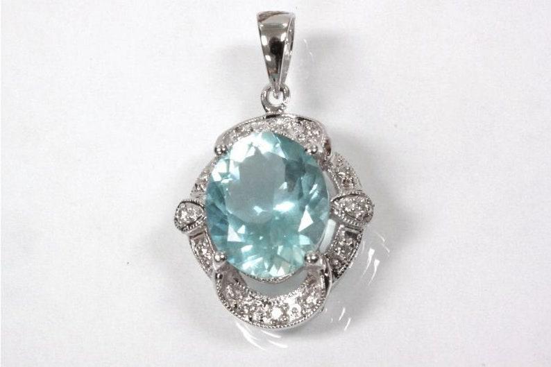 0.9 Cttw. FB Jewels Solid 14k White Gold Genuine Birthstone Oval Gemstone Pendant