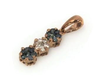 0.25 ctw Natural Blue & White Diamond Cluster Pendant / Solid 14k 18k Gold / 3 Flower Drop Pendant 20 MM / Anniversary Gift / Bridal Gift