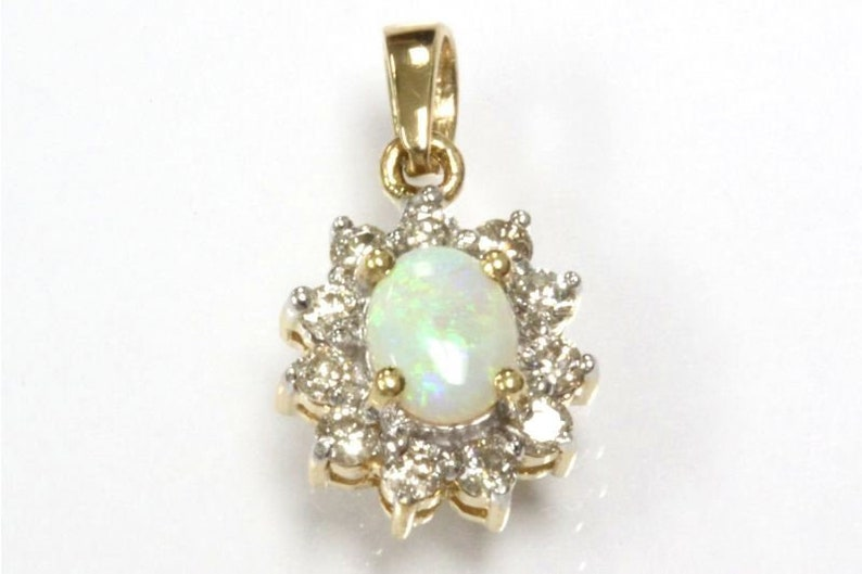 October Birthstone 18k White Rose Available 0.45 ct tw Natural Play of Color Opal /& Diamond Solid 14k Yellow Gold Halo Drop Pendant