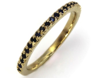 0.2 ctw Natural Blue Sapphire Solid 14k Yellow Gold Wedding Ring / Anniversary Band 1.8 MM / Stacking Half Eternity Bridal Ring / Thin Band