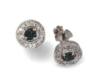 0.5 ctw Natural Color Change Alexandrite & Diamond Halo Earrings / Round Studs 8 MM / Solid 14k 18k Gold / Birthday Gift / June Birthstone