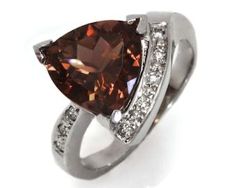 3.4 ctw Natural Orange Brown Tourmaline & Diamond Engagement Ring / Solid 14k 18k Gold / Triangle Cut Tourmaline Ring / October Birthstone