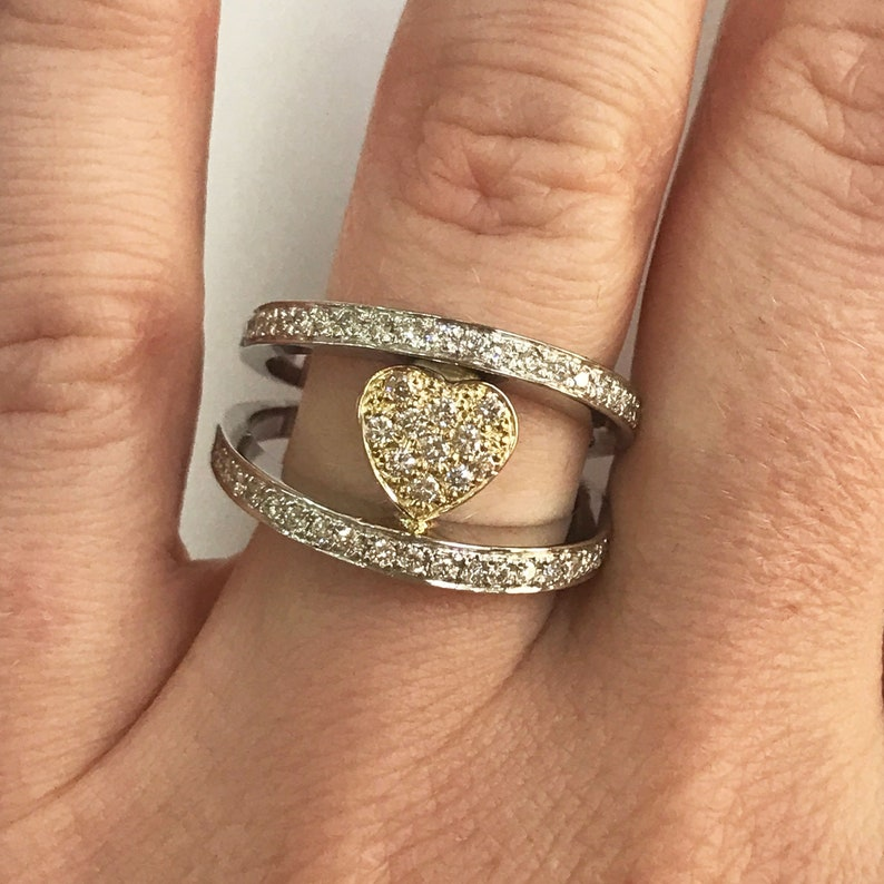 0.8 ct tw Natural Diamond G-H SI1-SI2 Solid Gold Heart image 0