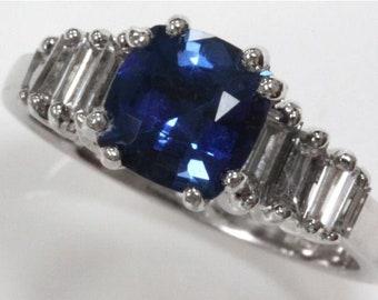 1.49 ct tw Natural Blue Ceylon Sapphire & Diamond Gold Engagement Ring