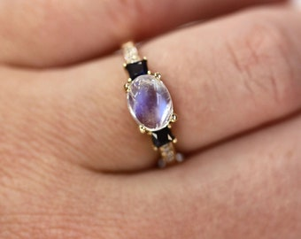 2.65 ctw Natural Cabochon Moonstone, Blue Sapphire & Diamond 3 Stone Ring/ East West Set/ Solid 14k 18k Gold/ Engagement Ring/ Birthday Gift