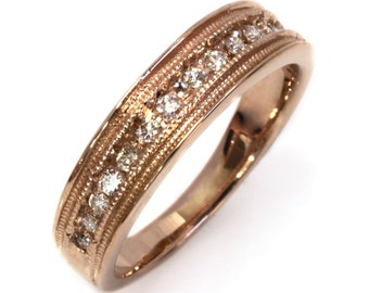 0.3 ctw Natural Diamond Channel Set Wedding Ring / Wide Stackable Bridal Band 5.5 MM / Solid 14k 18k Gold / Milgrain Anniversary Unisex Ring