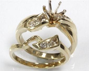 0.45 ct tw Natural Diamond (VS) Gold Semi Mount Solitaire Wedding Ring Set   Princess Diamond Engagement Ring   Bridal Set   Wedding Band