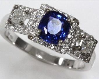 1.64 ct tw Natural Blue Ceylon Sapphire & Diamond Gold Halo Engagement Ring