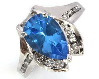 4.65 ctw Natural Blue Topaz & Diamond Cocktail Ring / Big Channel Statement Ring / Solid 14k 18k Gold / Pear Cut Topaz / November Birthstone