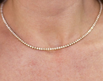 8.5 ctw Natural Diamond (G-H, SI1-SI2) Riviera Tennis Necklace / Solid 14k 18k Gold / Real Eternity Choker 16.5 Inches /4 Prong Tennis 2.5MM