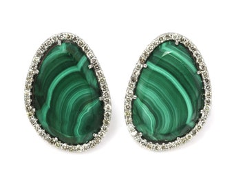 One-of-a-Kind 22.5 ctw Natural Green Malachite & Diamond Halo Earrings / Solid 14k White Gold / Omega Back Earrings / Big Statement Earrings