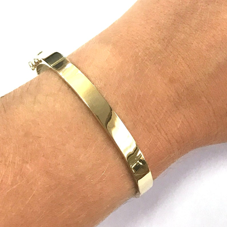 Wide 6 MM Solid 14k Yellow Gold Classic Oval Bangle Bracelet 7 image 0
