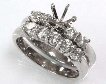 0.9 ct tw Natural Diamond Gold Semi Mount Wedding Ring Set   Solid 14k Gold Diamond Engagement Ring   Bridal Set   5 Stone Wedding Band