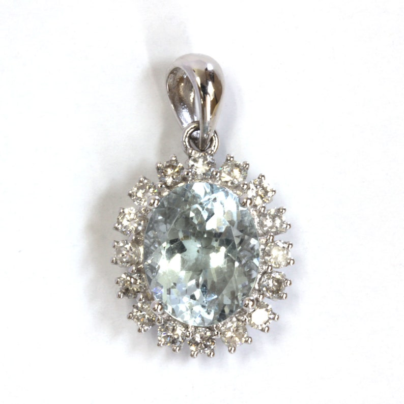 3 ct tw Natural Blue Aquamarine & Diamond Solid Gold Halo image 0