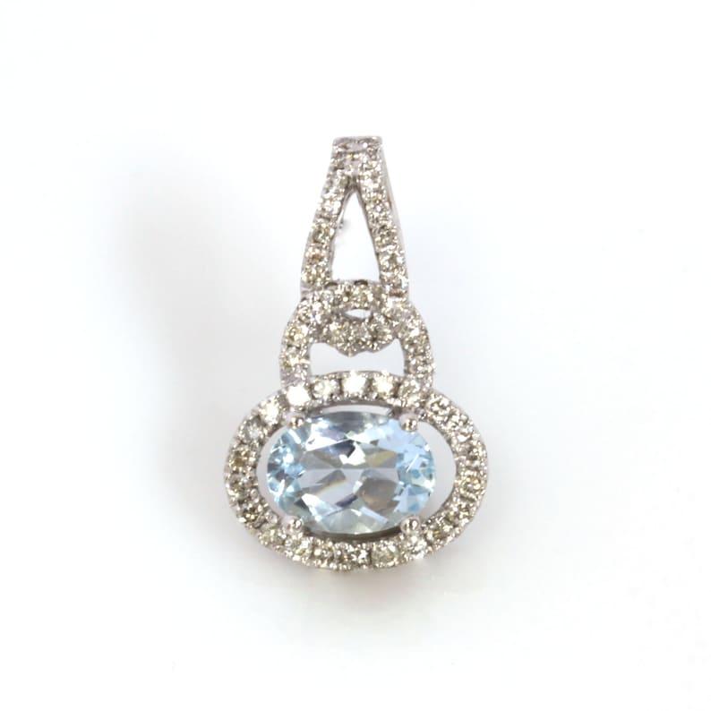 1 ct tw Natural Blue Aquamarine & Diamond Solid Gold Halo image 0