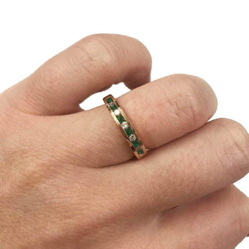 0.35 ct tw Natural Green Emerald & Diamond Solid Gold Channel image 0