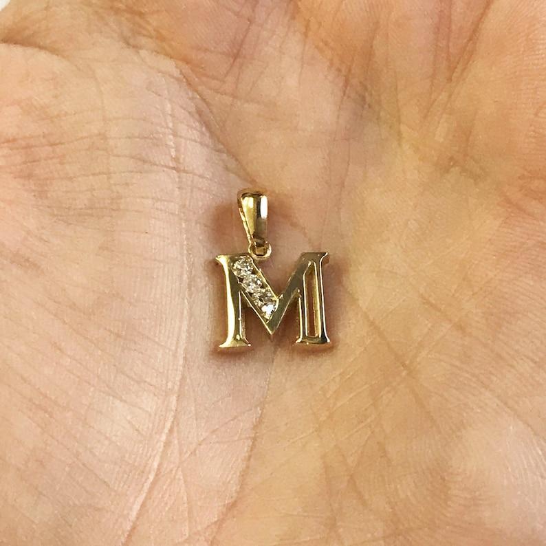 Solid 14k Gold Letter M Pendant / Initial Pendant / 0.1 ct tw image 0