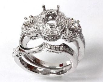 0.9 ct tw Natural Diamond (G-H, VS-SI) Solid Gold Semi Mount Halo Bridal Ring Set   14k 18k White Yellow Rose Gold