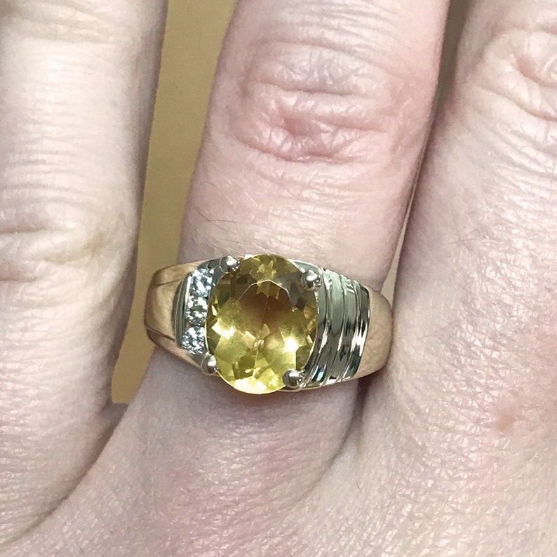 2.2 ct tw Natural Yellow Citrine & Diamond Solid Gold Cocktail image 0