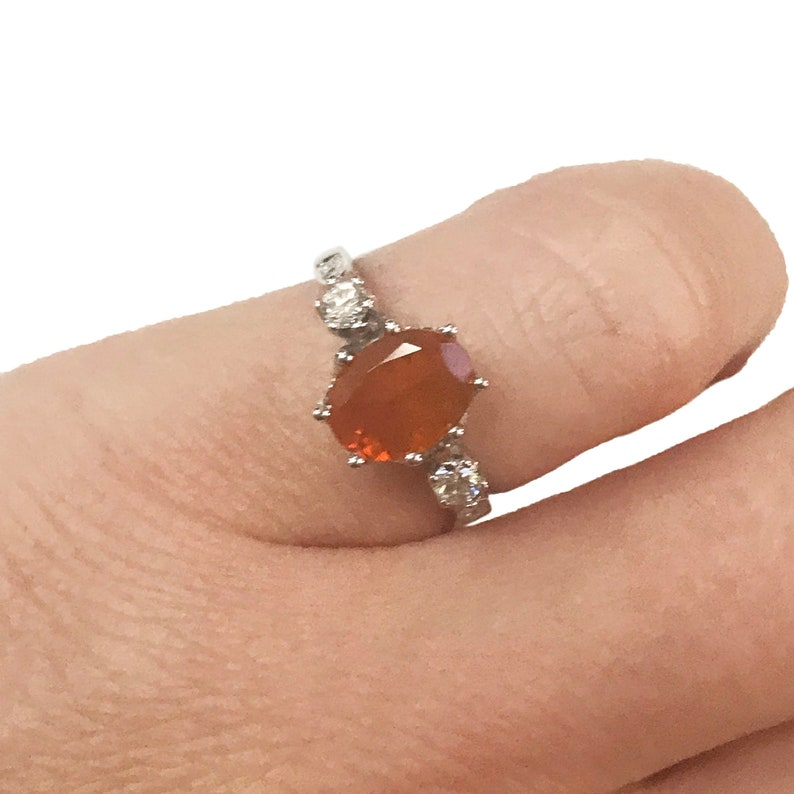 1.1 ct tw Natural Orange Fire Opal & Diamond Solid Gold Three image 0