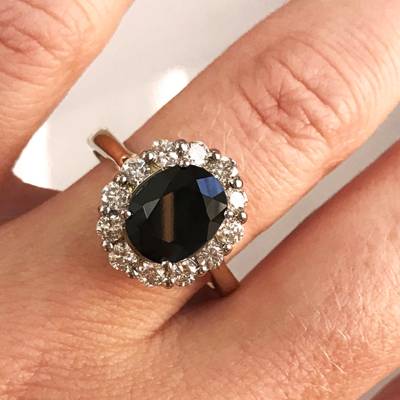 3 ct tw Natural Blue Sapphire & Diamond Solid Gold Halo image 0