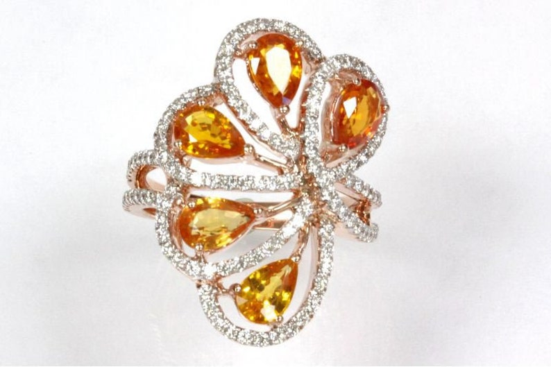 3.7 ct tw Natural Fancy Yellow Sapphire & Diamond Solid Gold image 0
