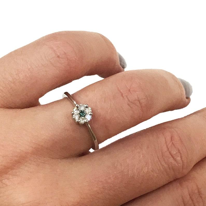 Cluster Engagement Ring / Natural Blue & White Diamond 0.25 image 0