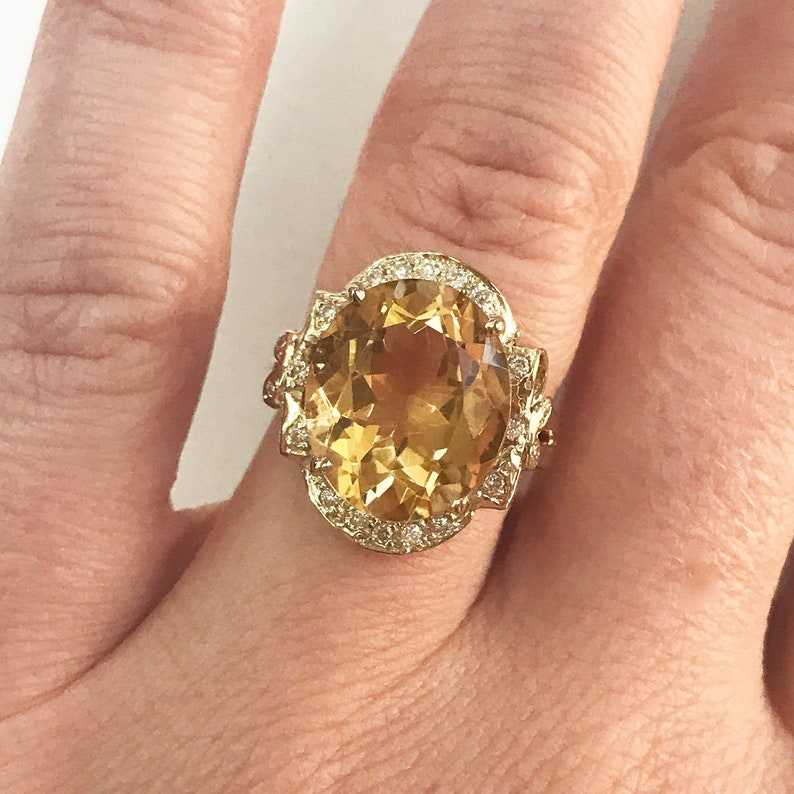 6.2 ct tw Natural Yellow Citrine & Diamond Solid Gold Bow image 0