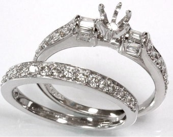 0.9 ct tw Natural Diamond Gold Semi Mount Wedding Ring Set   Solid 14k, 18k White Gold Diamond Engagement Ring   Bridal Set   Wedding Band