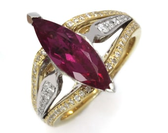 2.4 ctw Natural Pink Tourmaline & Diamond Engagement Ring / Marquise Cut Tourmaline Cocktail Ring / Solid 14k 18k Gold / October Birthstone