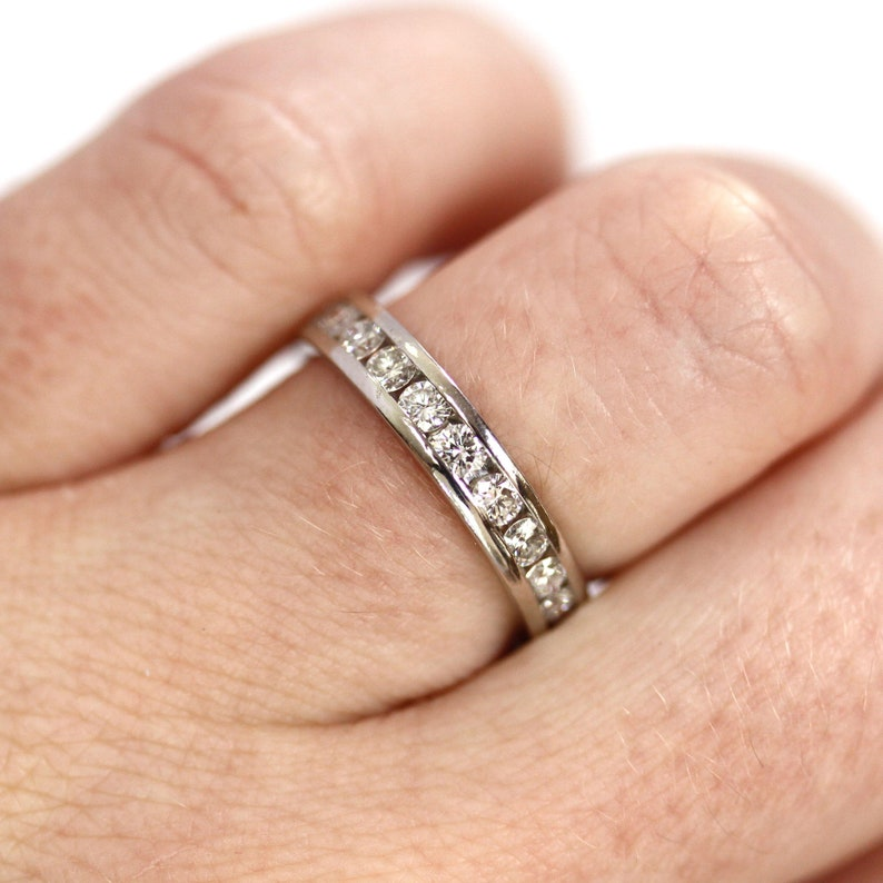 0.5 ct tw Natural Diamond Channel Wedding Band Ring / 11 Stone image 0