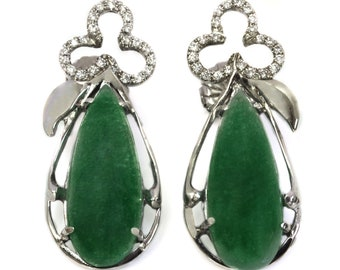 One-of-a-Kind 22.1 ctw Natural Green Jade & Diamond Pear Earrings / Solid 14k White Gold / Clover Post Earrings/ Big Statement Earrings 39MM