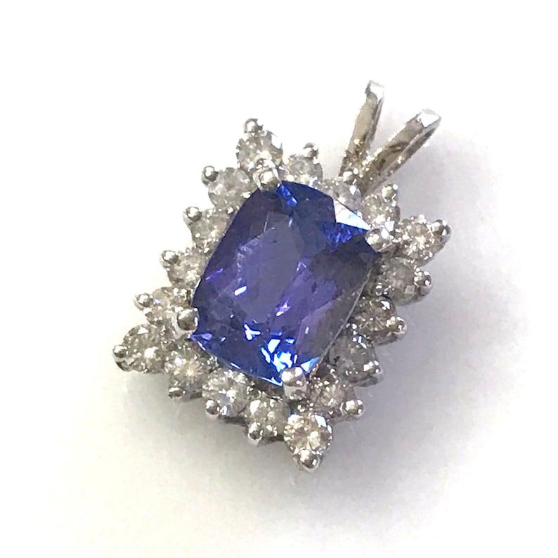 3 ct tw Natural Blue Violet Cushion Tanzanite & Diamond Halo image 0