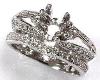 0.5 ct tw Natural Diamond Gold Semi Mount Filigree Wedding Ring Set   Split Shank Diamond Engagement Ring   Bridal Set   Ladies Wedding Band