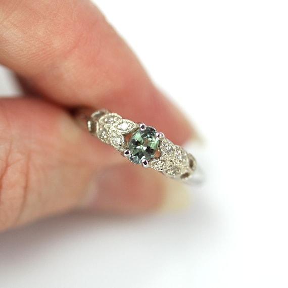 14k white gold ring bridal sets Alexandrite ring June birthston engagement rings color change gemstone