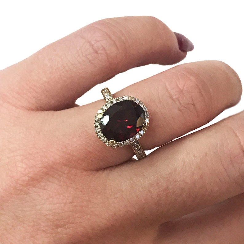 4.4 ct tw Natural Red Garnet & Diamond Solid Gold Solitaire image 0
